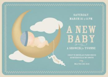 Baby Moon Baby Shower Invitations