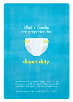 I Need a Diaper! Baby Shower Invitations