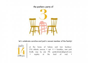 Party of 3 Baby Shower Invitations