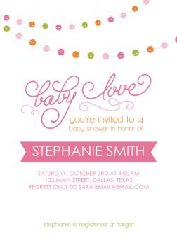 Baby Love Bunting Baby Shower Invitations