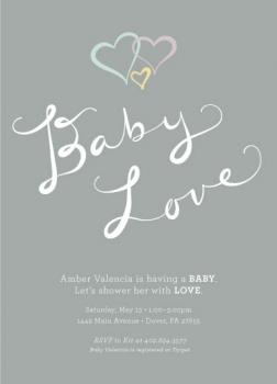 Two Hearts in Love Baby Shower Invitations