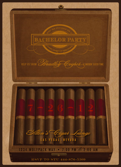 Party invitations cigar bachelor party at mintedcom for Cigar box wedding invitations