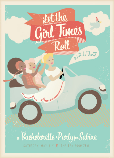 party invitations - Let the Girl Times Roll! by Lori Wemple