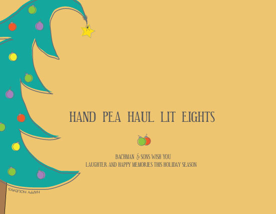 business holiday cards - Hand Pea Haul Lit Eights by Wendy McClure