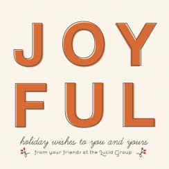 joyful wishes and holly berries Business Holiday Cards