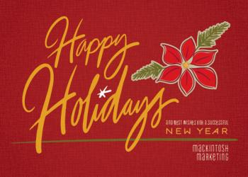 Pine and Poinsettia Business Holiday Cards