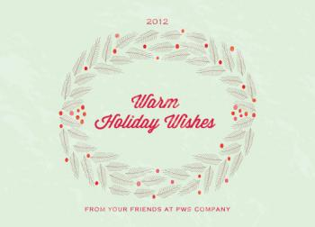 Fir Branches Wreath Business Holiday Cards