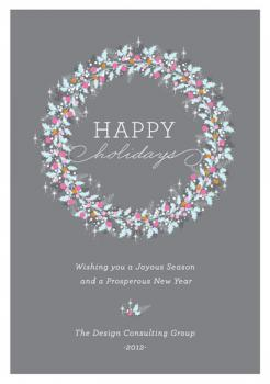 Modern Holly Wreath  Business Holiday Cards