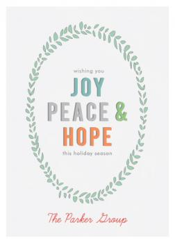 Peace Joy and Hope Business Holiday Cards