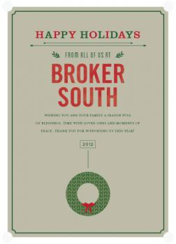 evergreen wreath Business Holiday Cards