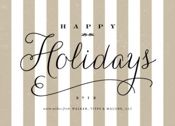 happy holidays stripe Business Holiday Cards
