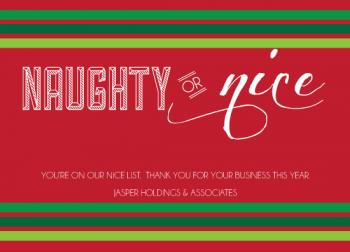 NAUGHTY OR NICE Business Holiday Cards
