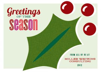 Holly Greetings Business Holiday Cards