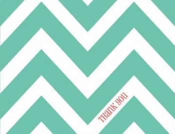 Caribbean Green Chevron Thank You Cards