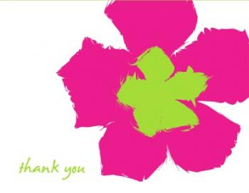 Pink Pop Flower Thank You Cards
