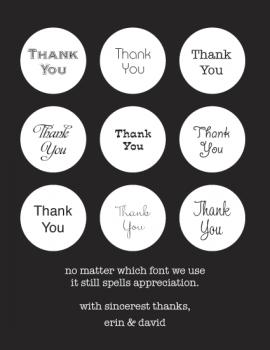 Font Fondness Thank You Cards
