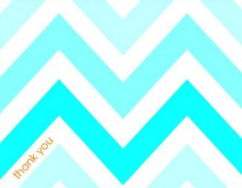 Ice Blue Gradient Chevron Thank You Cards