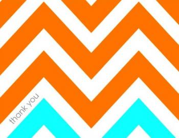 Tangerine Ice Chevron Thank You Cards