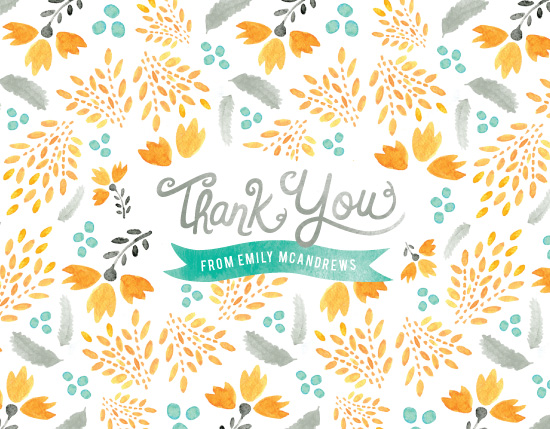 thank you cards - Blooms & Plumes by Wondercloud Design