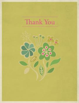 Thank You with Flowers Thank You Cards