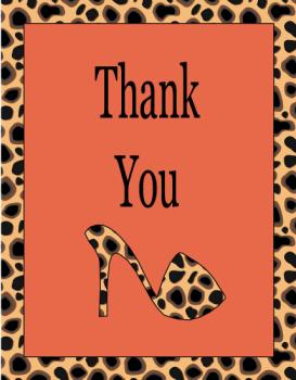 Cheetah Shoe Diva Thank You Cards