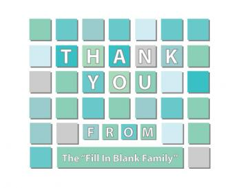Blue Squares Thank You Cards