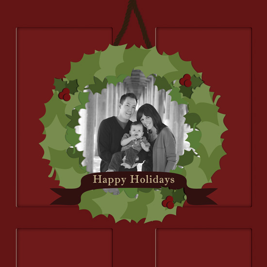 holiday photo cards - Holiday Door Wreath by My Sweetie Pie