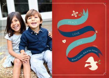 Peaceful Ribbon Holiday Photo Cards