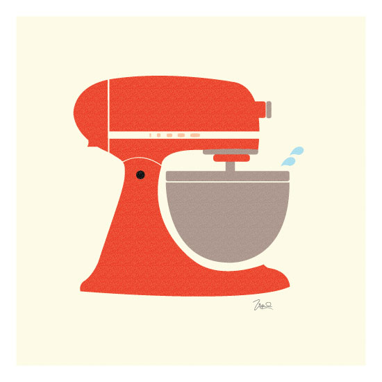 art prints - Vintage Kitchen Mixer by Katie Zimpel