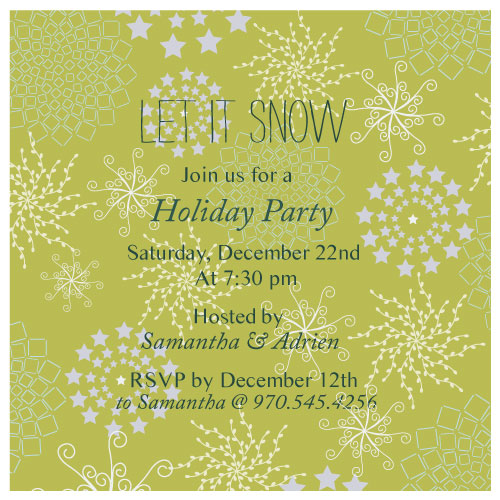 party invitations - let it snow by Anupama