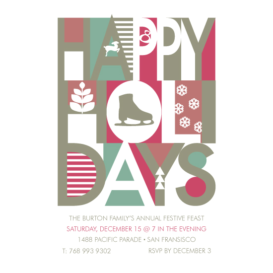 party invitations - Big Happy Holidays by Kampai Designs