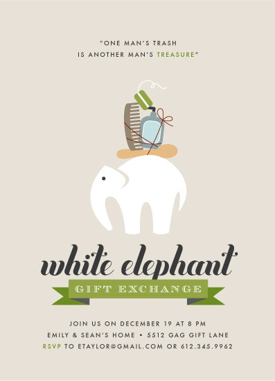 party invitations - Wonderfully Wacky White Elephant by Jennifer Postorino