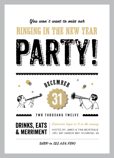 party invitations - Let's Ring in the New Year by Amanda Larsen Design