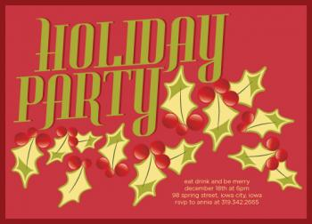 Holiday Leaves Party Invitations