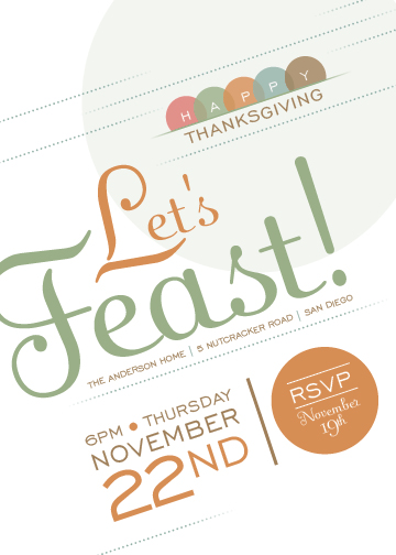 party invitations - Thankful Feast by Maui N Cupcake