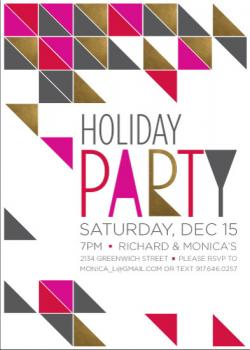 Geometric Holiday Party Invitations
