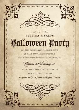 Gothic Halloween Party Invitations