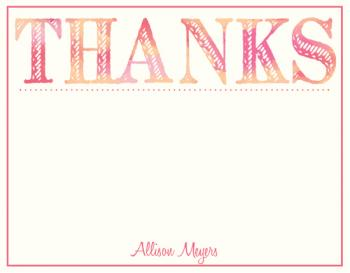 Thanks in Watercolor Personal Stationery