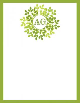 Wreath in Green Personal Stationery