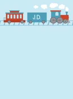 Child's Monogram Train Personal Stationery