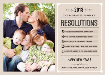 Resolutions Countdown New Year's Cards