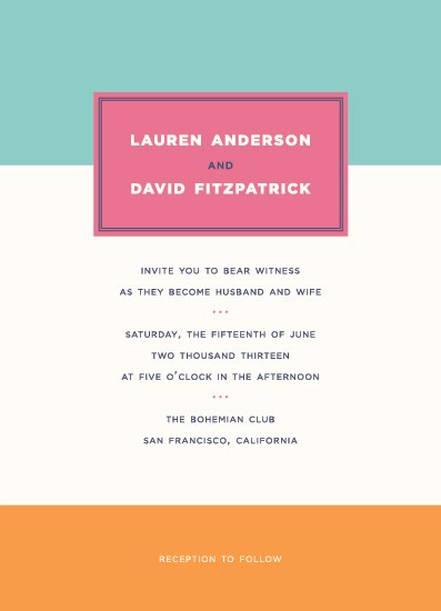 wedding invitations - Colorblock Bright by Vellum and Vogue
