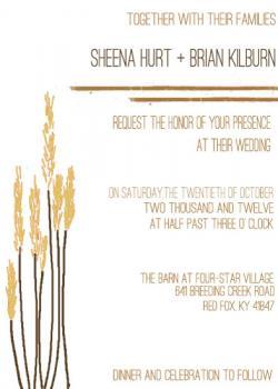Rustic Wheat Wedding Invitation Wedding Invitations