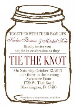 Mason Jar with Burlap Wedding Invitation