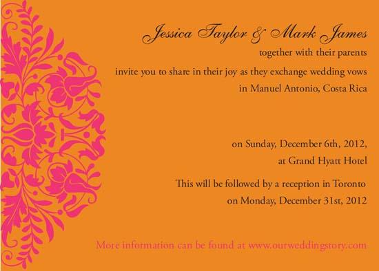 wedding invitations - Fuscia and Orange Fusion by Shaz