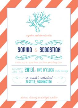 Coral Dreams Wedding Invitations