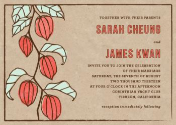 Lantern Flower Wedding Invitations