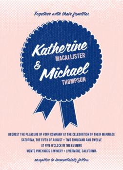 Blue Ribbon Romance Wedding Invitations