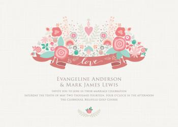 Whimsical Love Bouquet Wedding Invitations