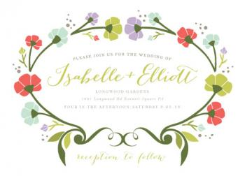 Garden Wreath Wedding Invitations